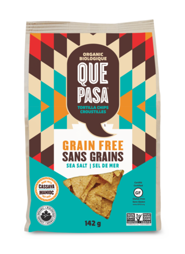 Picture of Salted Grain-free Tortilla Chips Sea Salt Organic, Que Pasa Foods